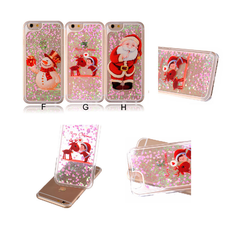 Christmas pattern Glitter Bling Hearted Liquid Plastic Case Cover For Apple iPhone 5 5S /6 6S 4.7 /6 Plus 6S Plus 5.5Inch(China (Mainland))