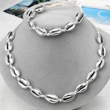 Hesiod moda ręcznie plecione liny naszyjnik z muszelek Ocean Beach damska biżuteria zestaw prezent(China)