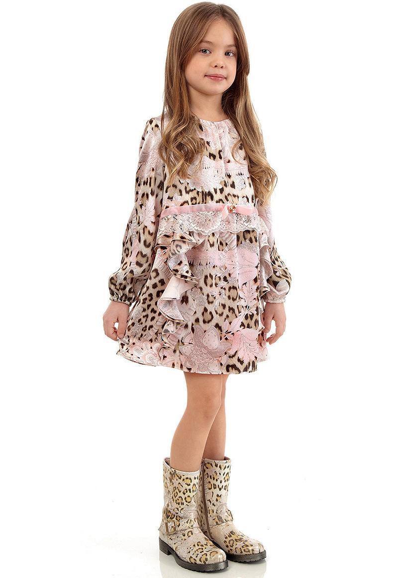 2016 New Sweet Kids Girls Wlmonsoon Leopard Dress Ruffles Embroider Casual Princess Party Dress<br><br>Aliexpress