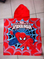 Free shipping spider man 100% cotton material hooded bath towel for kids boys, beach towel/ bathrobe, two colors