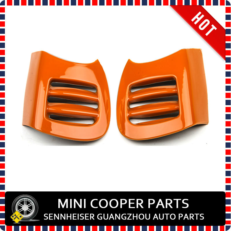 Brand New ABS Material UV Protected Mini Ray Style Orange Color A Panel Air vent Cover For mini cooper S F55 F56(2Pcs/Set)(China (Mainland))