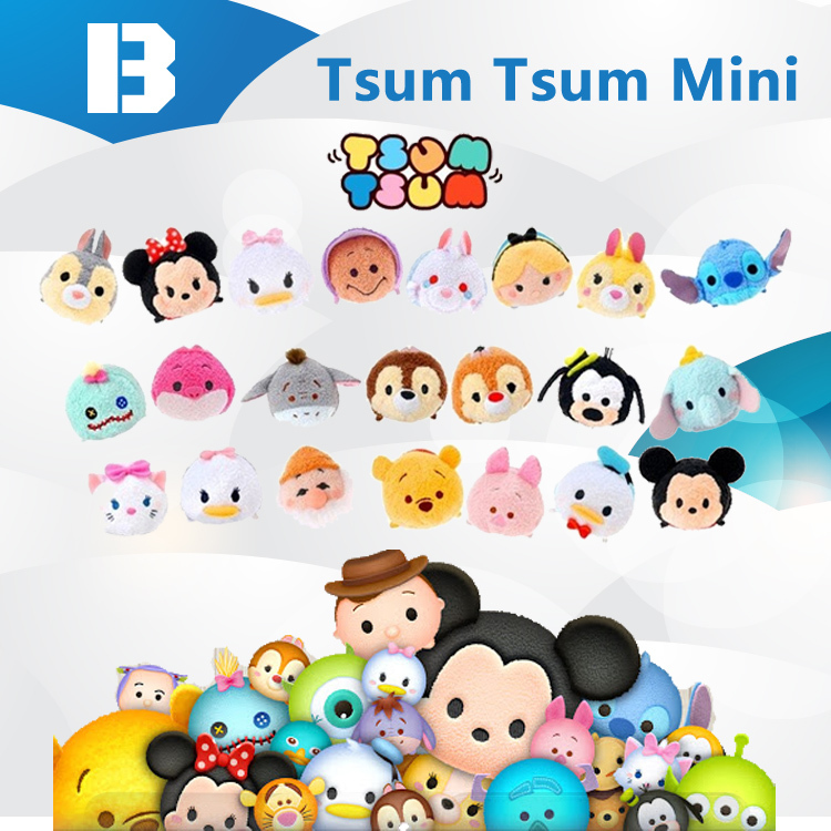 15 pcs / lot 3.5'' 3 1/2 inch Mini Tsum Tsum Plush Toy Thumper Doll Mike Sully Cute Elf Screen Cleaner for iPhone Juguetes Set(China (Mainland))