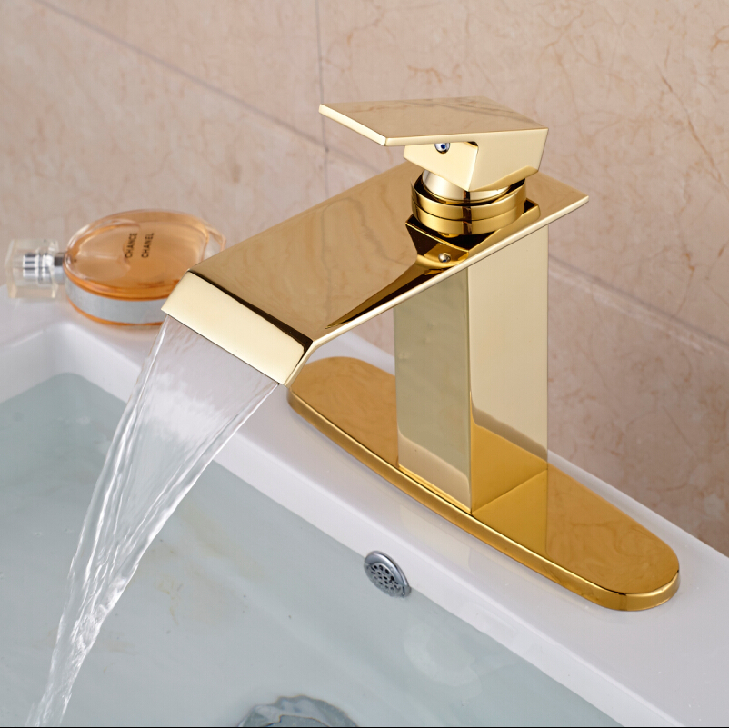 Фотография Bathroom Golden Brass Vessel Sink Faucet  Mixer Tap Deck Mount Waterfall Vanity Mixers Water Taps + Hole Cover