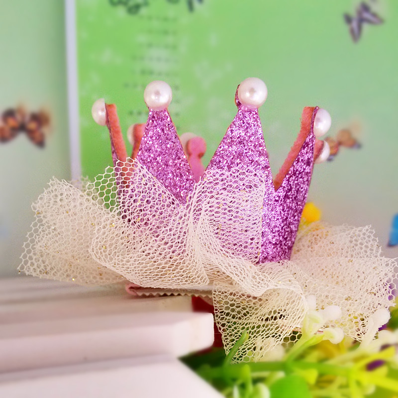 New Princess Crown Hairpins Modern Ornament accessories Gliter Pearls Girls Tiaras Headwear Baby Dancing Birthday Party Hairclip(China (Mainland))