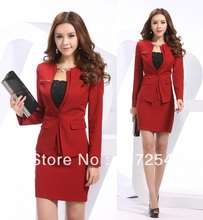 2014 Newest Plus Size XXL Red Spring Summer formal Women Career Suits Business Work Wear Long Sleeved Uniform Coat & Skirt Sets