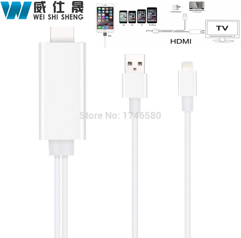 8 Pin To HDMI HDTV AV Cable For iPhone 5/5S/6/6S/7 Plus ipad Support HD1080P Connection TV For ios10(China (Mainland))
