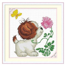 Free ship cross stitch kits,11ct cotton cross stitch kits,sweet puppy,Butterfly& flowers,easy to DIY,good quality(China (Mainland))