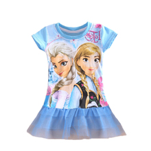Girl Anna Elsa Dress Girls Summer Toddler Dress Girls Voile Clothes Dresses Cartoon Princess Costume Dress GD009