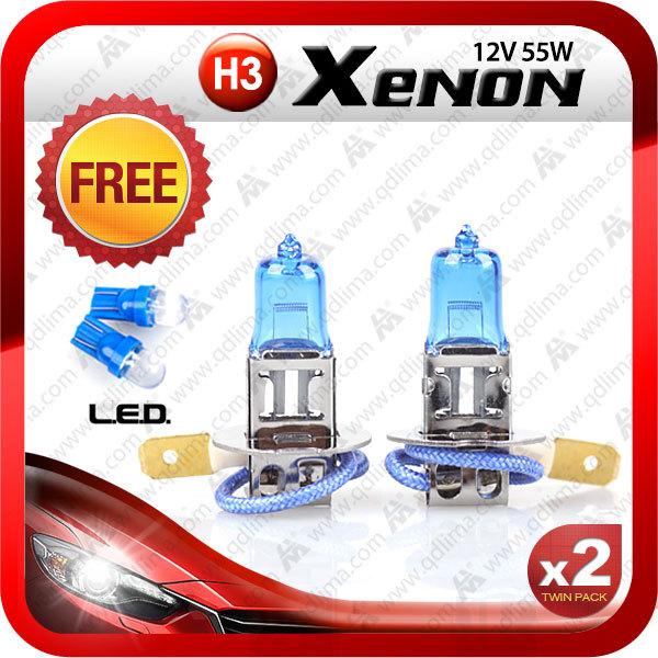 Free shipping+ 2pcs H3 fog lamp halogen long life 12V 4300K super white + free 2 pcs T10 1led blue bulb(China (Mainland))