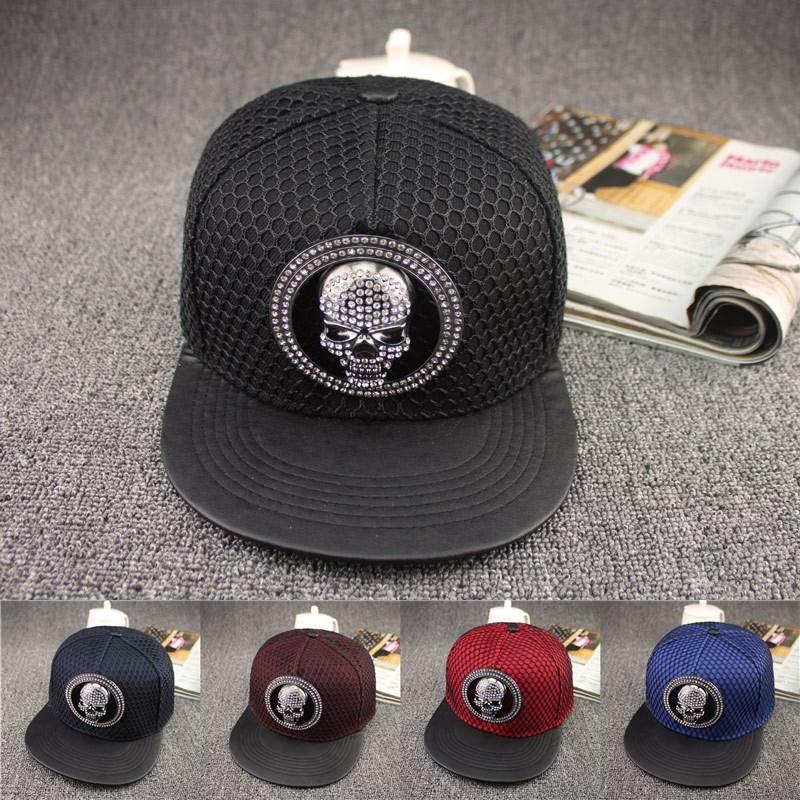 5 colors 2015 New Arrival fashion snapback hats adjustable The skulls with stone hip hop net cap sports baseball caps 15600(China (Mainland))