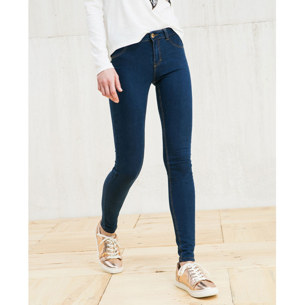 8907 Women Brief Casual Slim Dark Blue Mid Waist Zipper Elastic Strech Classical Skinny Brand Jeans Mujer Plus Size Pants LAYS(China (Mainland))