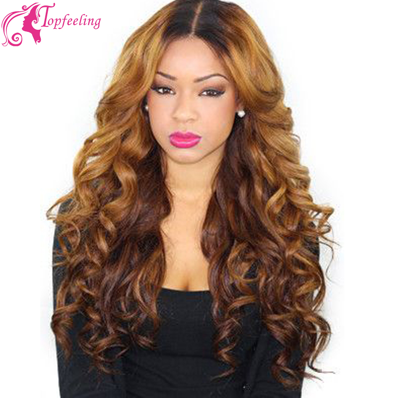 Free Shipping130 Density Virgin Brazilian Lace Front Wigs&Glueless Full Lace Human Hair Wigs Ombre Lace Wig Loose Curly Two Tone