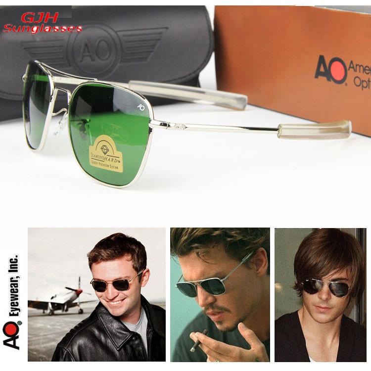 mens Air Force Pilots MILITARY AO brand Aviator Sunglasses Optical Glass Lense Alloy Frame Driving Sunglass Original packing box(China (Mainland))