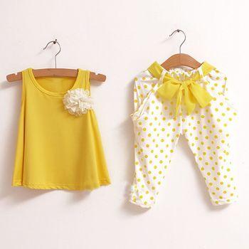 Новинка детская одежда летний комплект ребенок цветок женский жилет горошек шаровары twinset