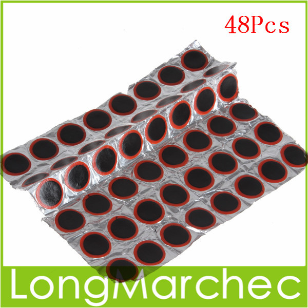 Sale! 48 x 25mm Round High Quality Rubber Patch Bicycle Tire Tyre Repair Piece Tools Kits For Bike Cycling(China (Mainland))