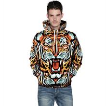 3D Printed Tiger Fashion Sweatshirts Long sleeve with hat Cosplay Tiger Costume Men Women Hoodies Animal Cosplay Sweatshirts(China (Mainland))