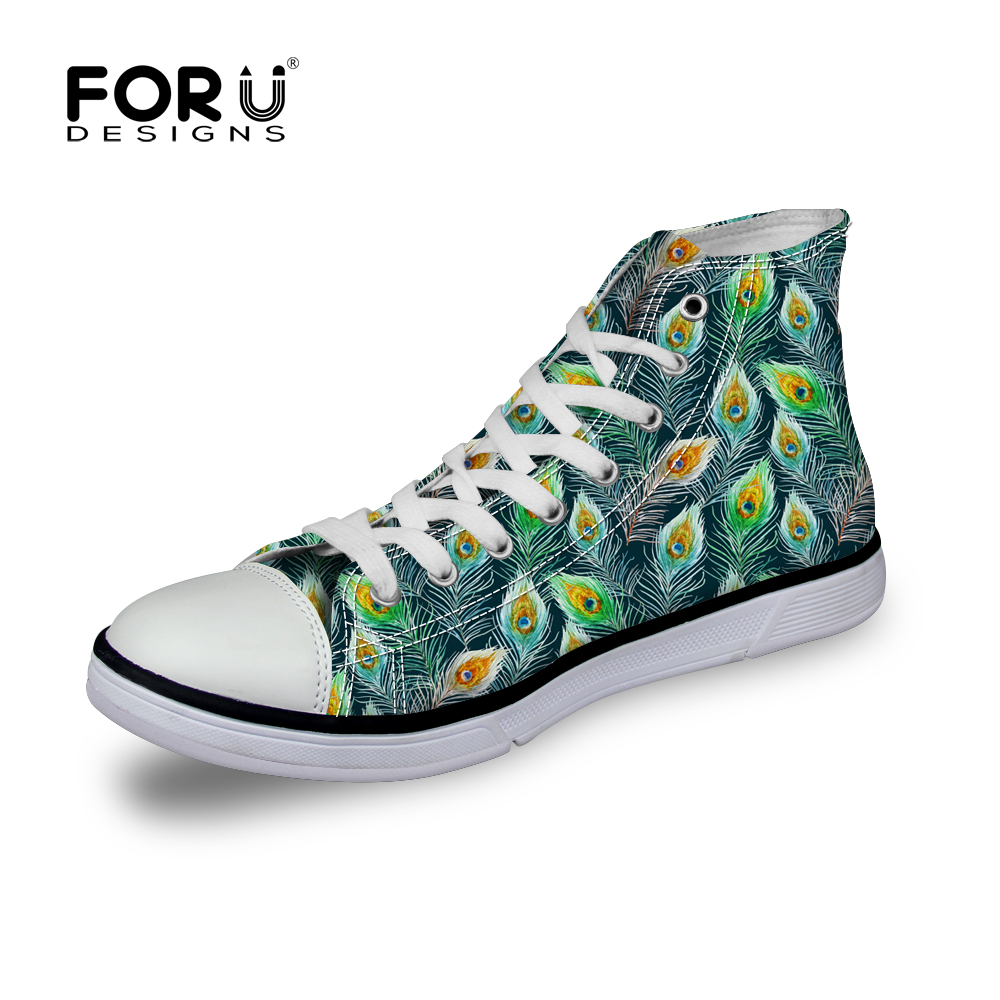 Casual Women's Canvas Shoes High Top Lace-up Flats Autumn Winter Daily Walking Peapock Print Female Girls