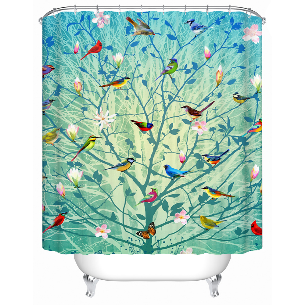 Beautiful Bird Stands on The Tree Eco-Friendly Shower Curtain Bathroom Curtain Acceptable Custom Waterproof Shower Curtain Y-141(China (Mainland))