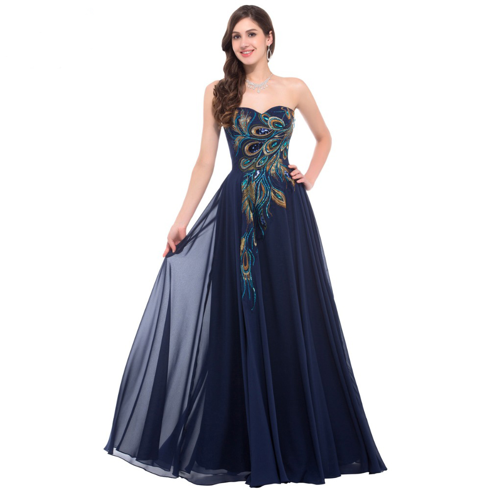 Dress Long Strapless Formal Black Peacock Evening Gowns Elegant Gowns
