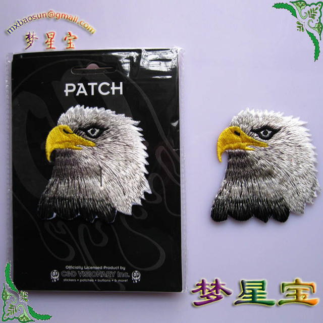 Free shipping 2 set/lot(1set=3pcs) hot sale embroidery yellow mouth eagle fabric sticker cotton cloth paste DIY patches