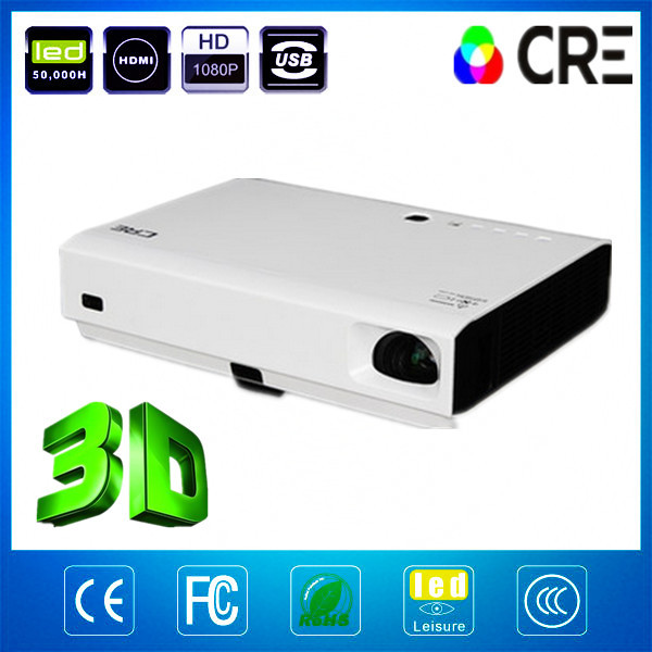 factory supply top 3800 lumens HD 1080p 3D projector,best portable multimedia shutter dlp projector - China Best Brand CRE LED Projector store