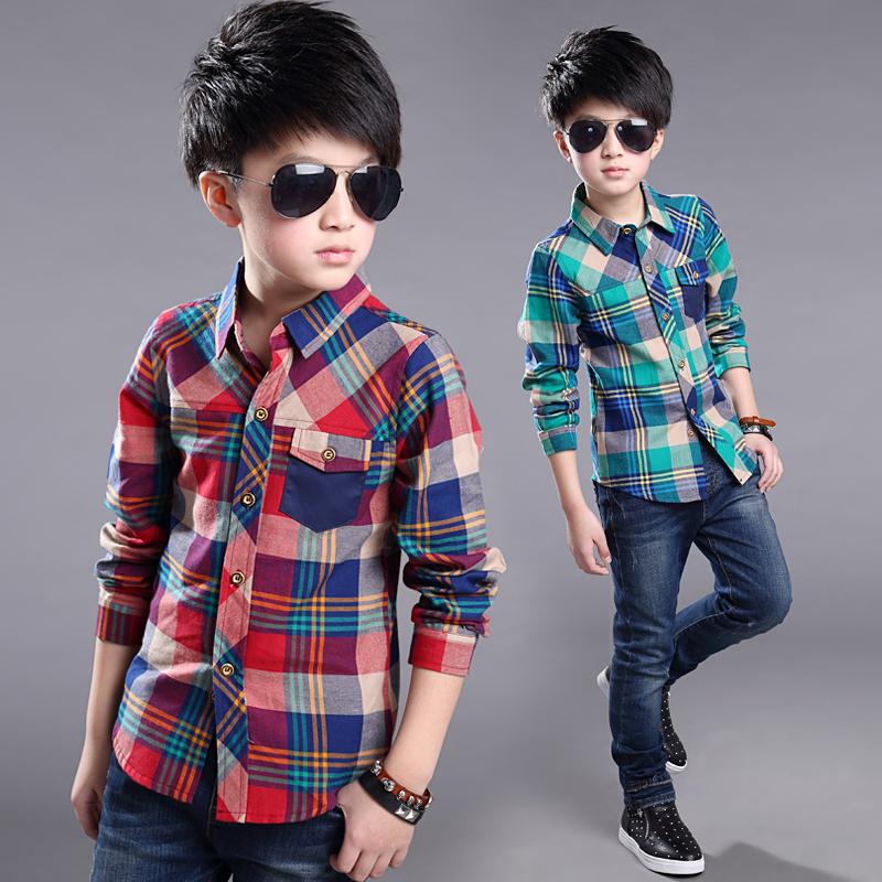 2016 Spring Autumn Boys Plaid Shirts Children's Clothing 6-13 years Kids shirts long sleeve boys Blouse turn-down collar(China (Mainland))