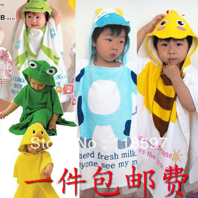 free shipping Summer child bathrobe cartoon style cloak baby bath towel bathrobes blankets beach towel soft children bathrobe