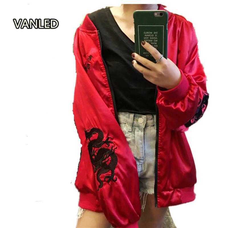 Harajuku Red Black Dragon Embroidery Baseball Jacket Men Women Lovers Punk Zipper Jacket Spring