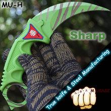 MUKASZ Stone wash tiger Counter Strike Black Karambit Knife with Sheath Tiger Fade Tooth Real game Knife Factory Wholesale MU-H(China (Mainland))