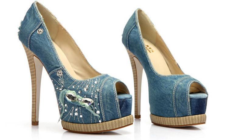 2014 Women Spring Summer High Heeled Shoes Fish Head Denim ...