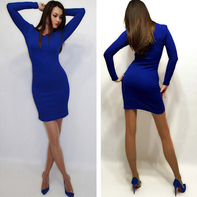 Blue red work elegant office bodycon sheath knitted cotton women 2015 summer autumn mini long sleeve casual shirt dress clothes(China (Mainland))