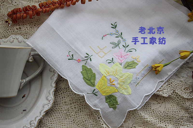 100% hechos a mano de algodón bordado de colores Drawnwork decoración de la boda pañuelo blanco 40 cm envío gratis 4 unids/lote A125(China (Mainland))