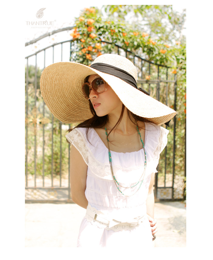 Handcraft Raffia Straw Hat Casual Cap June'syoung Hot Sale 2016 Summer Fashion New Sun Hats for Women Wide Brim(China (Mainland))