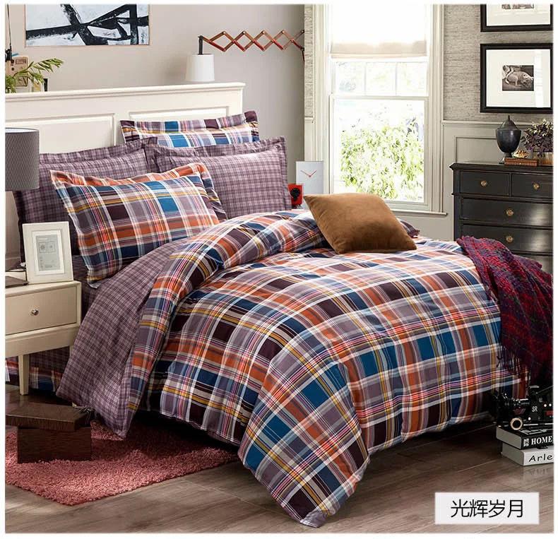Blue grey black orange plaids bedding set 100 cotton - Orange and grey comforter ...