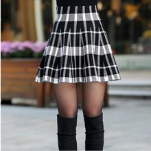 Spring Skirts Womens 2016 Fall Autumn New Design Fashion Girl Plus Size Zipper High Waist Short Mini Pleated Wool Plaid Skirt