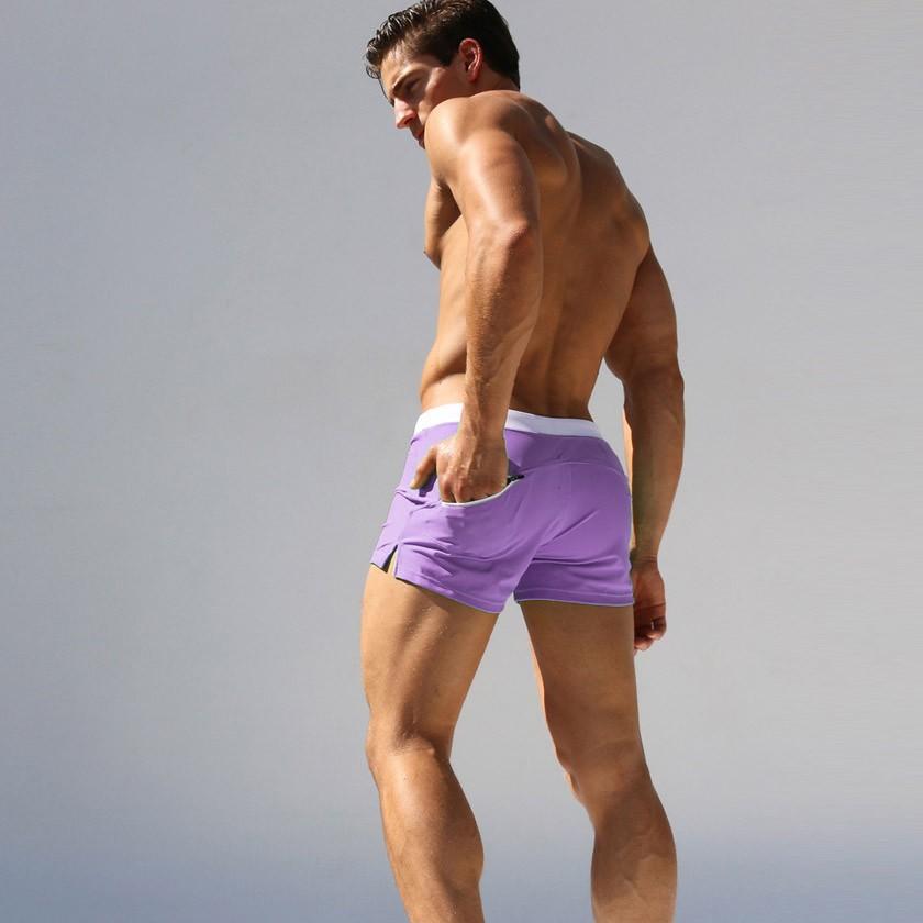 Hot Men Swimsuits Swimming Boxer Shorts Beach Surf Board Shorts Trunks Men's Swimwear Brand Swim Suits Brand Gay Penis Pouch WJ