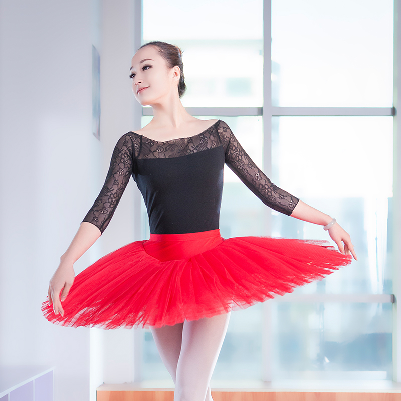 Professional Girls Adults Ballet Dance Wear 3/4 Long Lace Sleeve Gymnastics Leotards Training Dance Costumes(China (Mainland))
