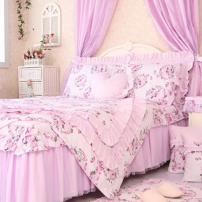 Free shipping princess lace ruffle floral light purple - Light purple comforter set ...