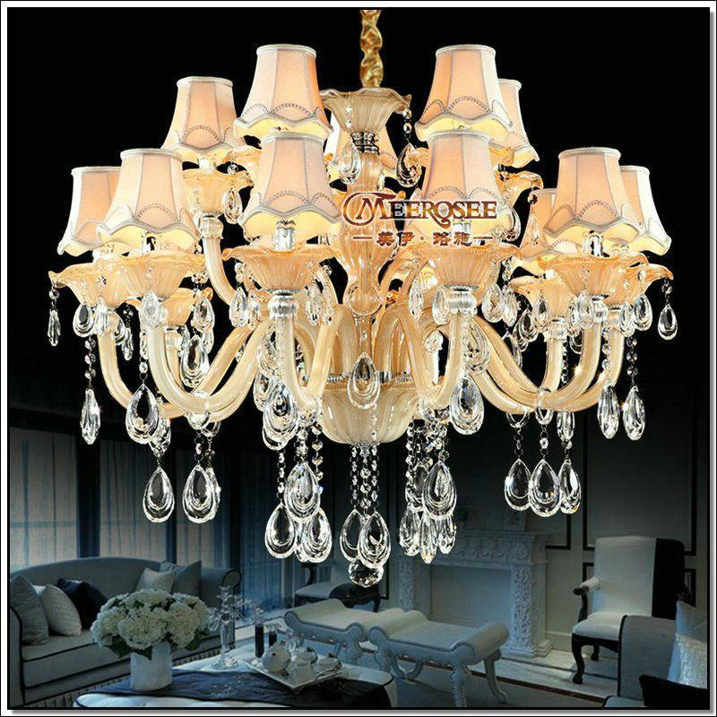 European Flower Crystal Chandelier Light Lampshades Large Glass Chandelier Luster Lamp with 15 Lights for Living Room MD88009(China (Mainland))