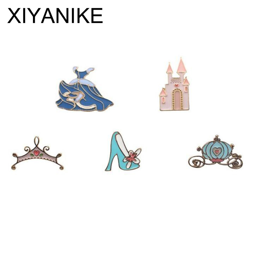 2017 Fashion Jewelry Wholesale Manufacturer Selling Cinderella Fairy tale Castle Crown Skirt Pumpkin Enamel Brooch Pin VHS9133(China (Mainland))