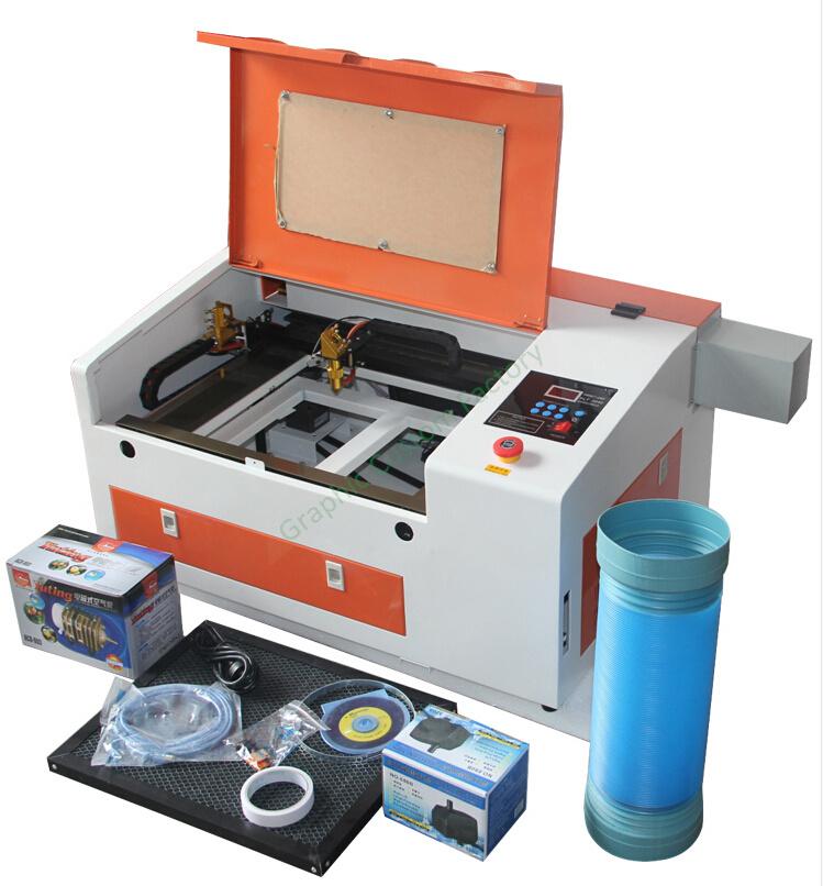 Desktop laser cutting engraving machine with 50W tube honey combe work ...