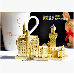 Swan Stone Castle model Gold color P013-G(S) 3D DIY laser cutting building educational diy toys Jigsaw Puzzle gifts - Shenzhen Qinmay Technology Co., Ltd. store