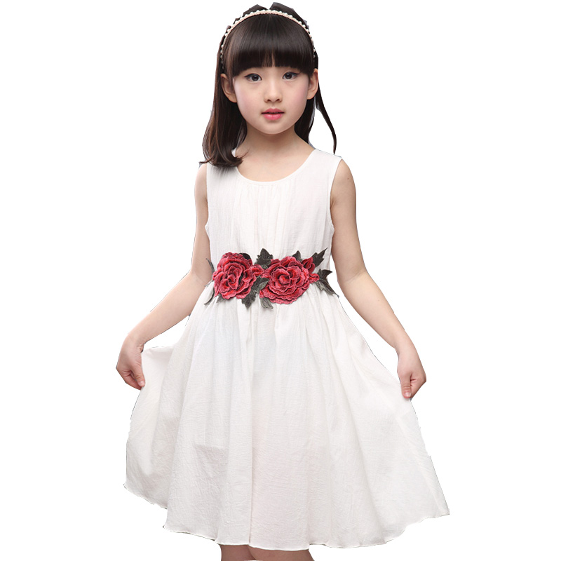 Girls white dresses summer 2016 children cotton sleeveless vest dress Two flowers kids casual princess dress for girls clothing(China (Mainland))