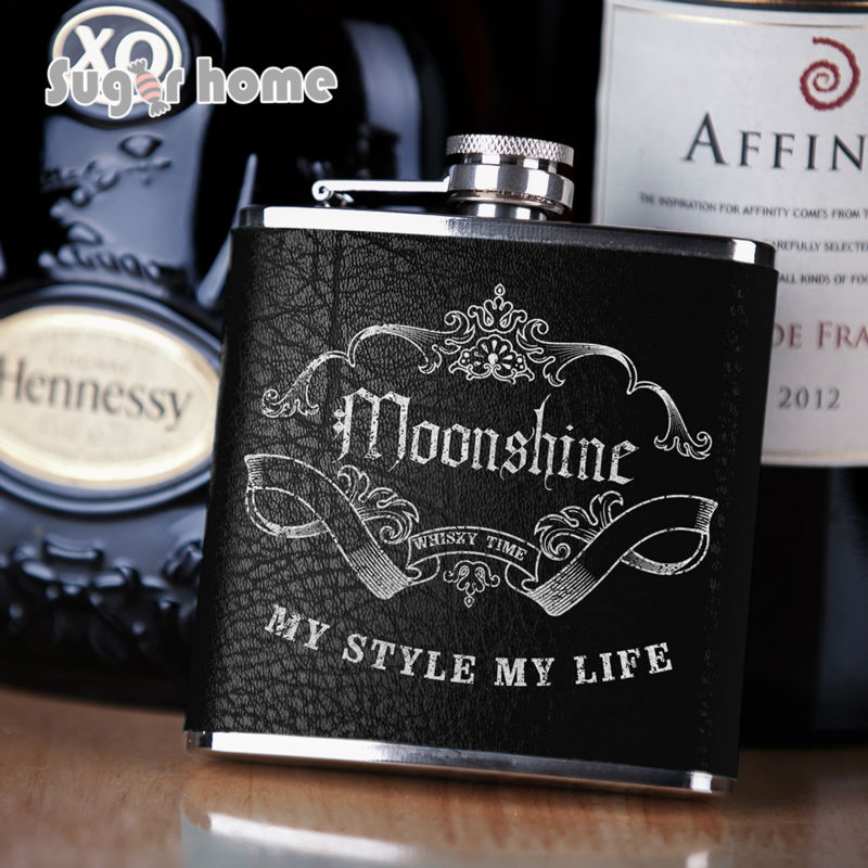 Portable silver stamp leather wrapped Flask 6 oz Stainless Steel Hip Flask drinkware Alcohol Liquor Whiskey Bottle gifts(China (Mainland))