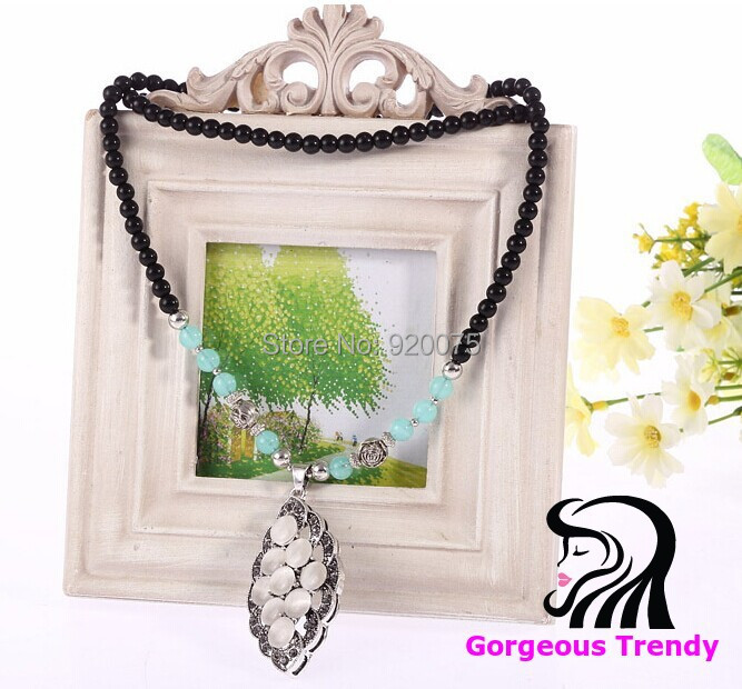 Special Price Hot Fashion Match Leave Gem Pendant Opal Black Beads Alloy Necklace Long Chain Sweater Women Jewelry - Gorgeous Trendy store