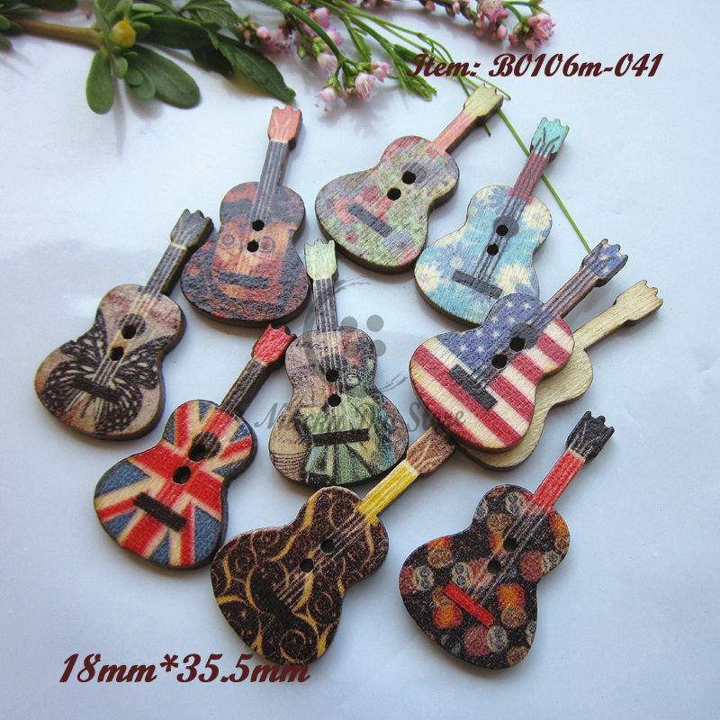 144pcs Random mixing Violin shape wooden sewing buttons scrapbooking craft decorative accessories 18mm*25.5mm(China (Mainland))