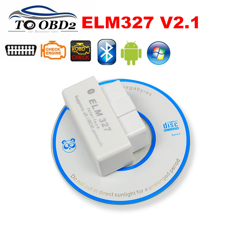 Hot Sale White MINI Bluetooth ELM327 Newest Version V2.1 Works Multi-brand Cars Supports OBD OBD2 Protocols ELM 327 Android(China (Mainland))