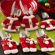 New Year Dinner Table Cutlery set Christmas Decoration For home Navidad Set Silverware Holder Pocket Santa Claus Dress Pants