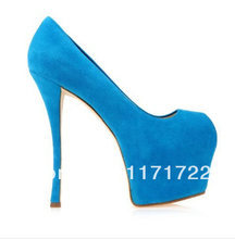 Suede leather discount top quality women sexy high heel pumps daffodile peep toe platform pumps 4 colors YP01#(China (Mainland))