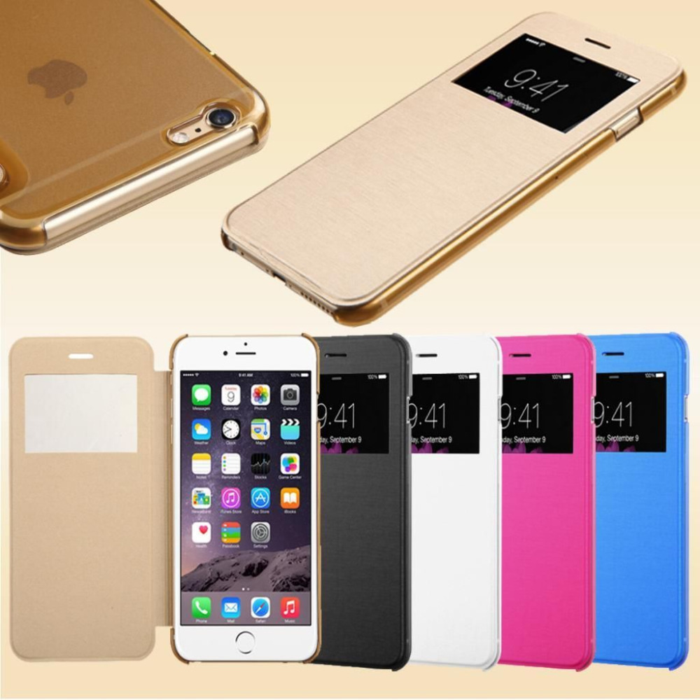 Flip Leather View Window Clear Back Case Cover for Apple iPhone 6 4.7'' for iPhone 6 Plus 5.5'' Phone Bags Full Body Skin(China (Mainland))